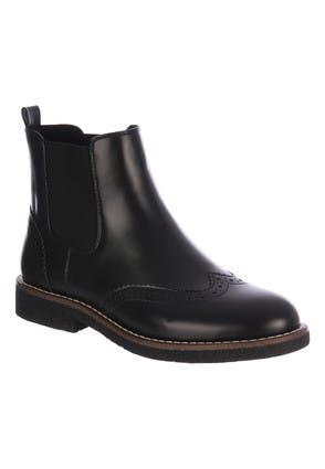 Womens Black Brogue Chunky Chelsea Boots