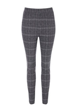 Womens Grey Check Slim Leg Trousers