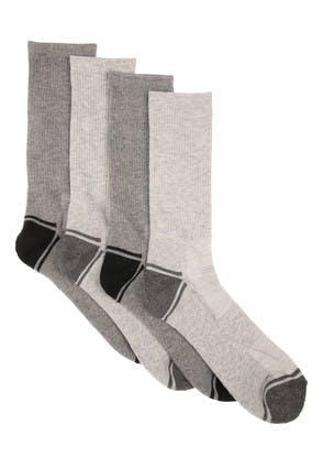 Mens 4pk Grey Sports Socks