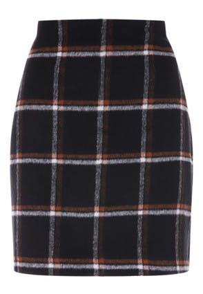Womens Black Check Skirt