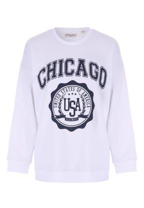 Womens White Chicago Sweatshirt