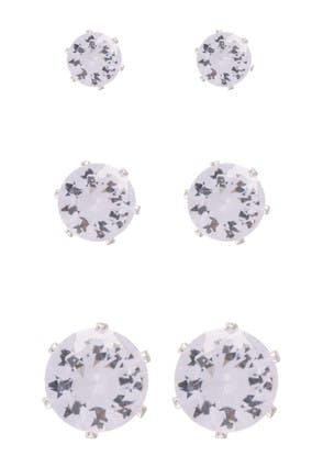 Womens 3pk Silver Diamante Stud Earrings