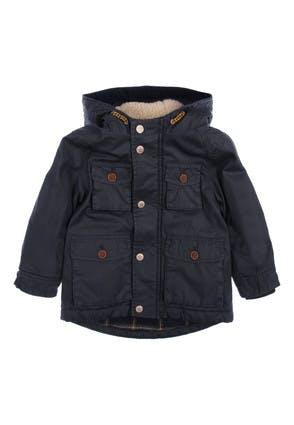 Younger Boys Navy Waxed Parka Coat