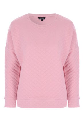 Womens Pink Quilted Crew Neck Top