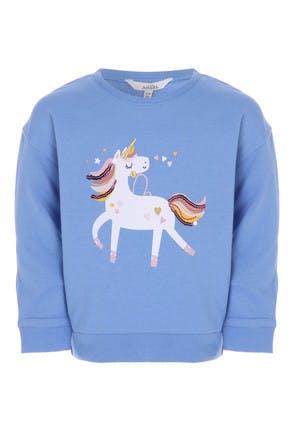 Younger Girls Blue Unicorn Sweat Top