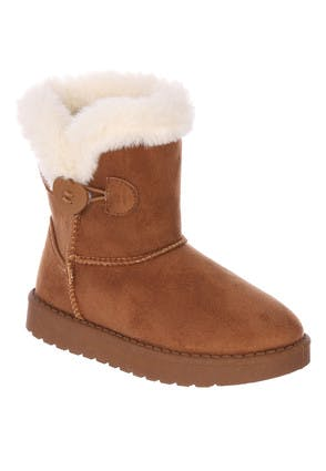 Younger Girls Tan Suedette Fur Lined Boots