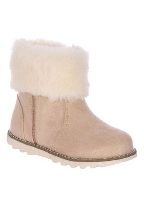 Younger Girls Pink Fur Top Boots