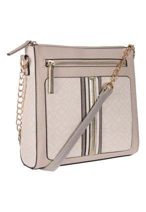 Womens Grey Mono Across Body Bag