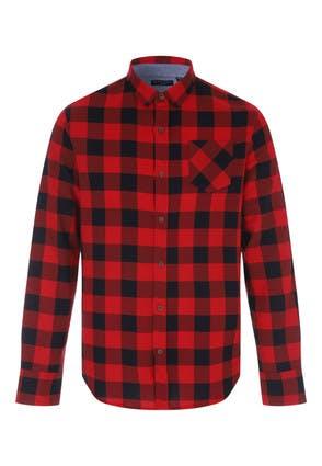 Mens Red and Black Buffalo Check Shirt