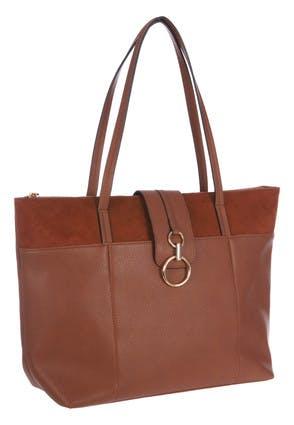 Womens Tan Suede Top Tote Bag