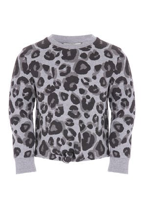 Younger Girls Grey Leopard Print Sweat Top