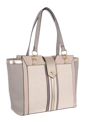 Womens Grey Mono Tote Bag