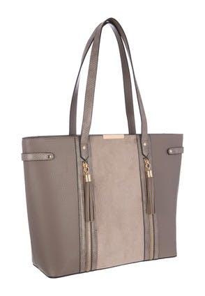 Womens Grey Tassel Zip Tote Bag