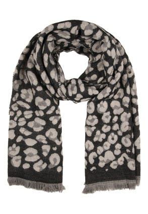 Womens Grey Leopard Print Scarf