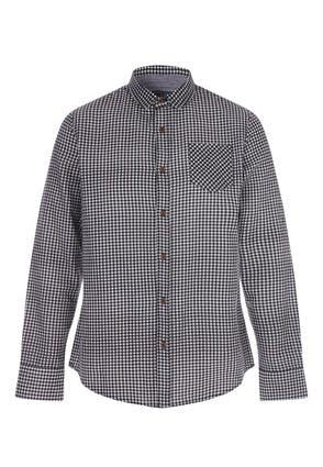 Mens Black Long Sleeved Check Shirt