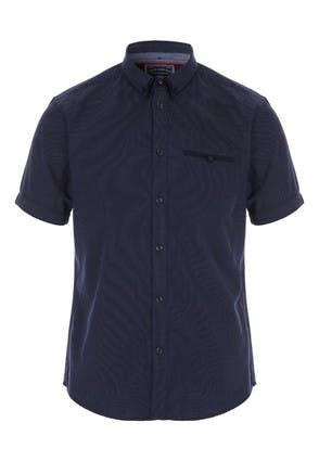 Mens Navy Spot Short Sleeve Shirt