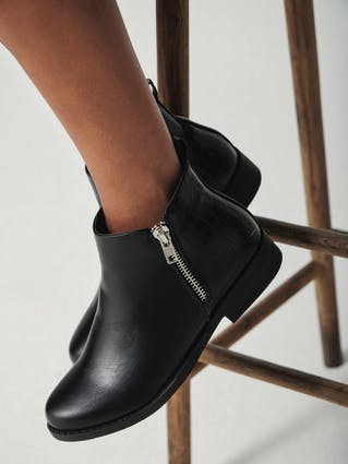 Womens Black Ankle Boot with Zip