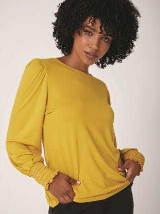 Womens Mustard Long Puff Sleeved Top
