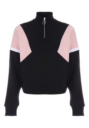 Older Girls Black and Pink Sweat Top
