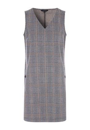Womens Grey Check V-Neck Shift Dress