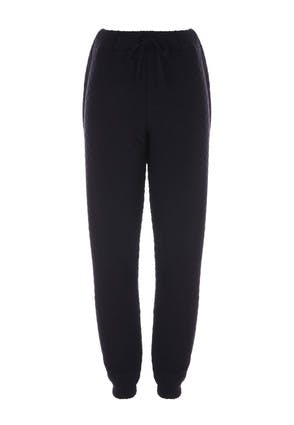 Womens Black Quilted Joggers