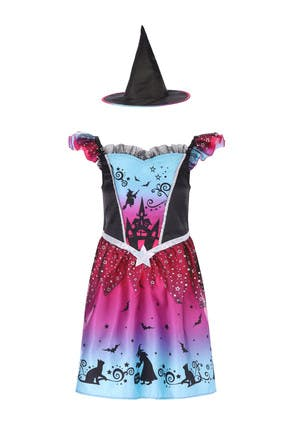 Kids Halloween Pink Witch Costume