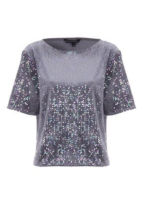 Womens Silver Sequin Top