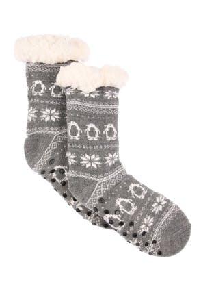 Kids Grey Fairisle Slipper Socks