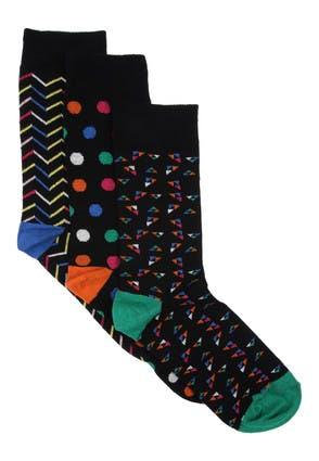 Mens 3pk Black Geo Print Socks