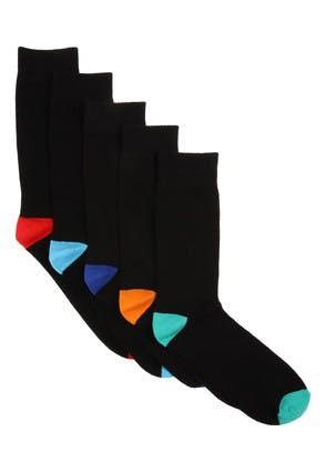 Mens 5pk Black Multi-Coloured Heel and Toe Socks