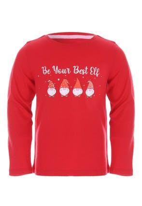 Younger Girls Red Elf Long Sleeve T-Shirt