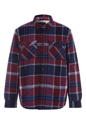 Mens Red Check Borg Fleece Lined Shirt