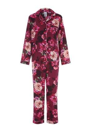 Womens Plum Floral Satin Pyjama Set