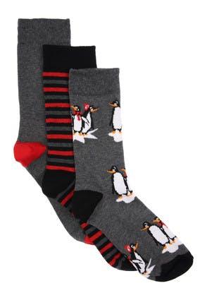 Mens 3pk Grey Penguin Socks