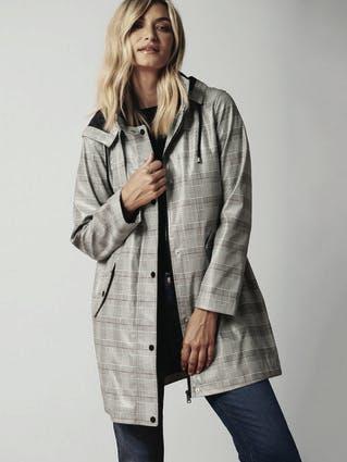 Womens Check Parka Rain Coat