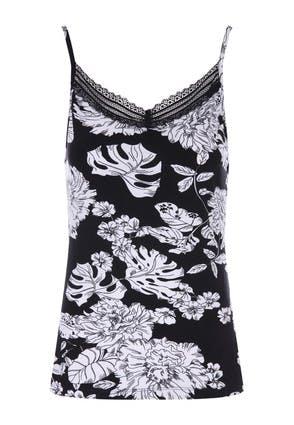 Womens Black & White Floral Print Cami Pyjama Top
