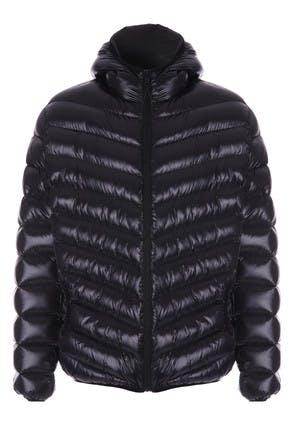 Mens Black Shiny Padded Jacket with Hood