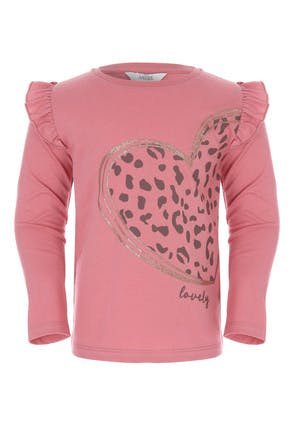 Younger Girls Pink Heart Frill Sleeve Top