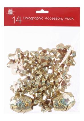 Gold Christmas Bows and Ribbon Set