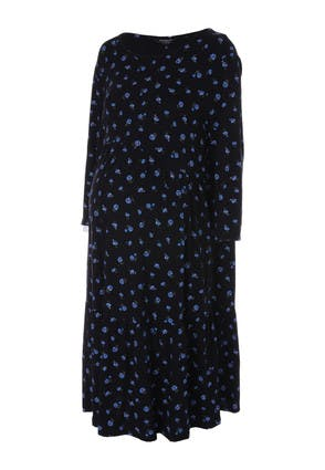 Womens Maternity Black Floral Tiered Dress