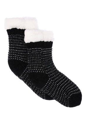 Womens Black Lurex Chenille Slipper Socks