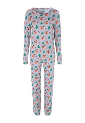 Womens Grey Christmas Reindeer Pyjama Set