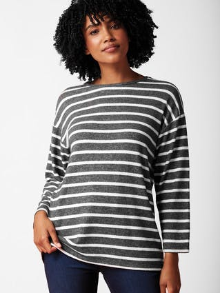 Womens Charcoal Stripe Cosy Top