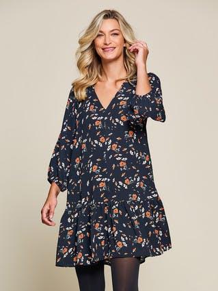 Womens Black Floral Peplum Dress