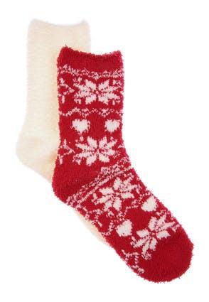 Womens 2pk Red Fairisle Marshmallow Socks