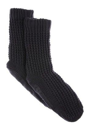 Mens Charcoal Slipper Socks