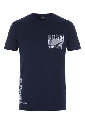 Mens Navy Graphic Print T-Shirt