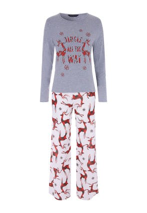 Womens Grey Stag Christmas Pyjama Set