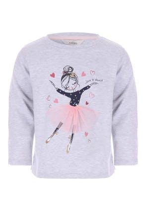 Younger Girls Grey Ballerina Sweat Top