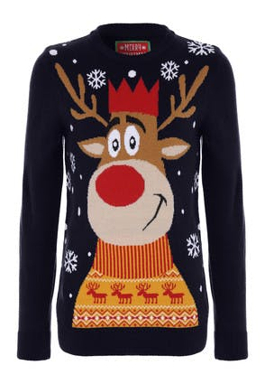 Older Boys Navy Reindeer Christmas Jumper